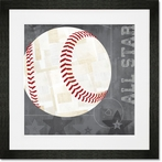 Baseball All Star - Gray Framed Art Print
