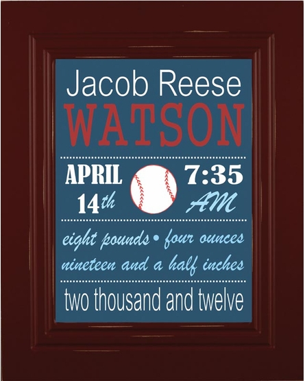 Baseball Birth Announcement Framed Art