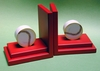 Baseball Bookends with Red Base