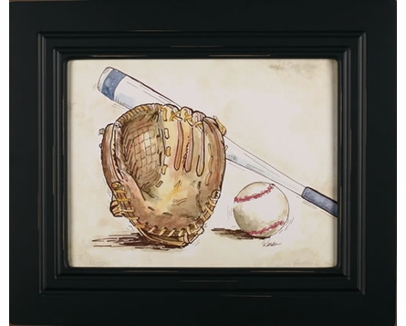Baseball Weathered Frame Art