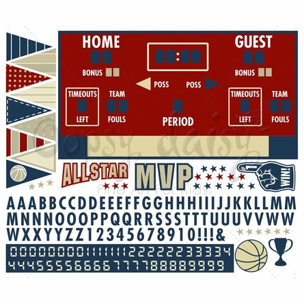 Basketball Athlete Scoreboard Peel & Place Wall Stickers
