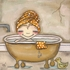 Bath Time Fun Girl Canvas Reproduction
