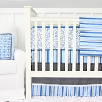 Baxton Blue and Gray Crib Bedding Set