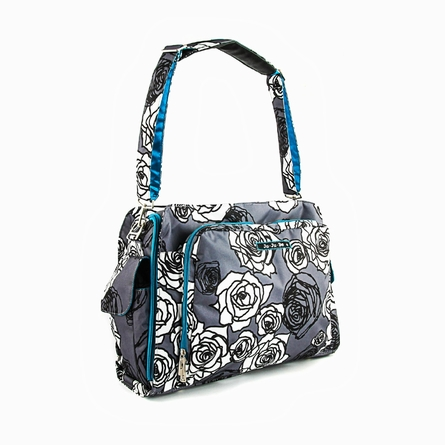 Be Prepared Diaper Bag in Charcoal Roses