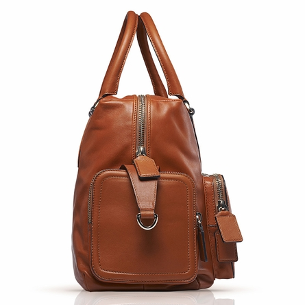 Bea Leather Diaper Bag in Tan