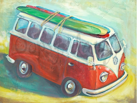 Beach Bus Canvas Wall Art