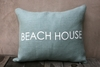 Beach House Burlap Pillow In Light Blue & White