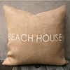 Beach House Burlap Pillow In Natural & White