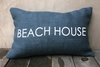 Beach House Burlap Pillow In Navy & White