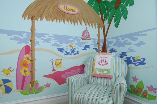 beach shack paint by number wall mural by elephants on the. Black Bedroom Furniture Sets. Home Design Ideas