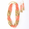 Beaded Coral Multi-Strand Necklace and Earring Set