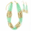 Beaded Mint Green Multi-Strand Necklace and Earring Set