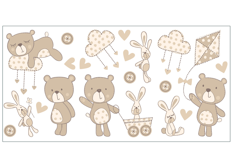 Bear And Boo Neutral Wall Decals