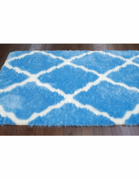 Beatrice Faux Sheepskin Rug in Blue