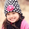 Bella Beanie Hat in Black Polka Dot