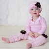 Bella Beanie Hat in Pink Stripe