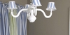 Bella Blue & White Wide Stripes Four Arm Spindle Chandelier