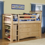 Bennington Twin Loft with Storage Options in Natural Rosewood