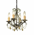Birch Wrought Iron Small Mini Chandelier with Murano Crystals and Topaz Swarovski Strass Crystals