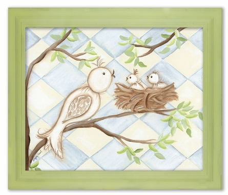 Bird Blue Diamond Framed Canvas Reproduction