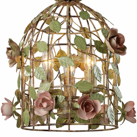 Bird Cage Pendant with Dusky Roses