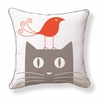 Bird on Cat Reversible Throw Pillow