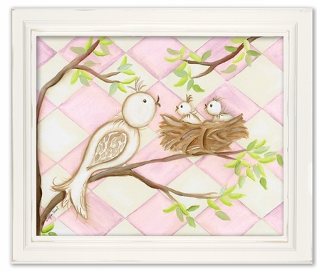 Bird Pink Diamond Framed Canvas Reproduction