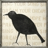 Bird Silhouette Vintage Art Print with Grey Wood Frame