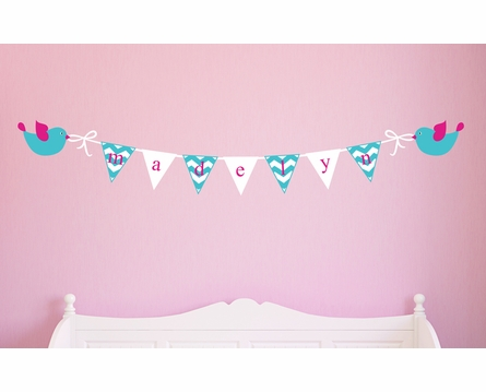 Birds and Banner Personalized Fabric Wall Decal