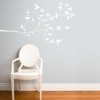 Birds & Buds in White Wall Decal