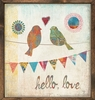 Birds Hello Love Vintage Framed Art Print