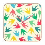 Birds Multicolor Square Wall Clock