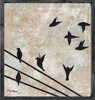 Birds on Wire Vintage Framed Art Print