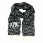 Black and Gray Chevron Monogram Cashmere-Feel Scarf