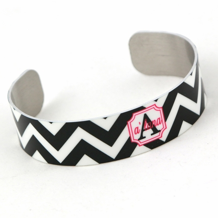 Black and Pink Chevron Monogram Thin Cuff Bracelet