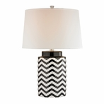Black and White Chevron Ceramic Table Lamp