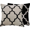 Black and White Lattice Large Throw Pillow
