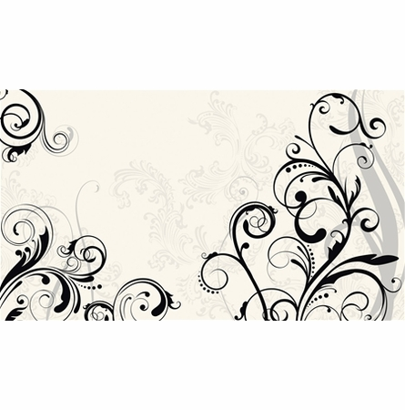 Black and White Scroll Chair Rail XL Wall Mural