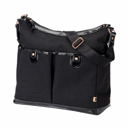 Black Balistic Two Pocket Hobo Diaper Bag