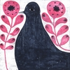 Black Bird In Flowers Small Vintage Art Print on Wood