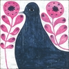 Black Bird in Flowers Vintage Art Print on Wood