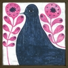 Black Bird in Flowers Vintage Framed Little Art Print
