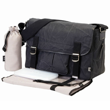 Black Crushed Waxed Canvas Messenger Diaper Bag
