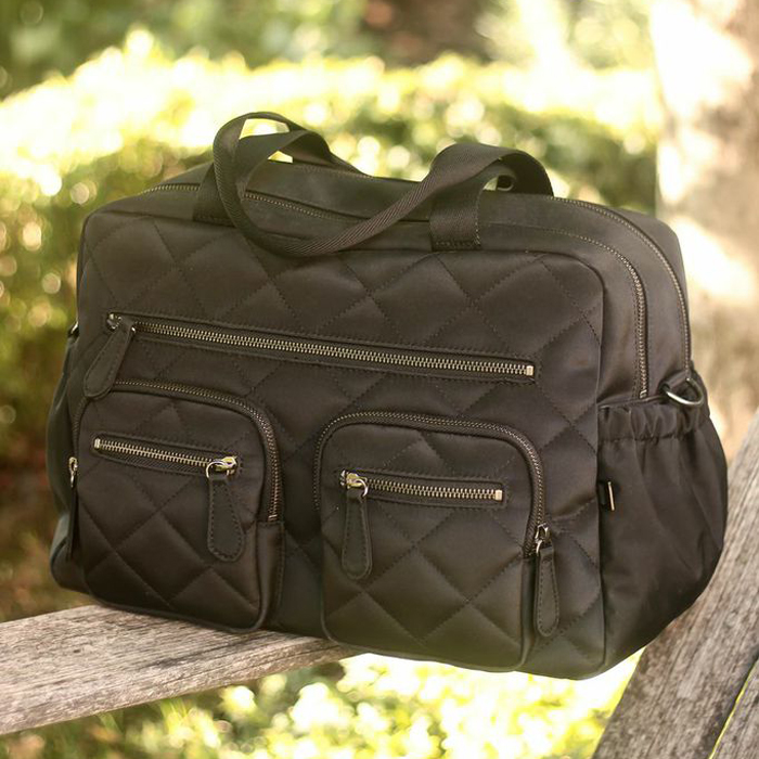 black diamond quilted carry all diaper bag. Black Bedroom Furniture Sets. Home Design Ideas