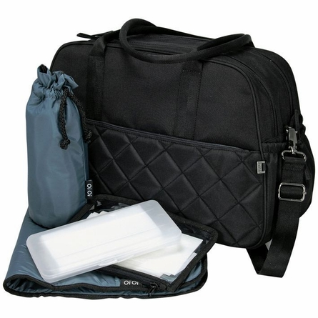 Black Quilted Carry All Diaper Bag