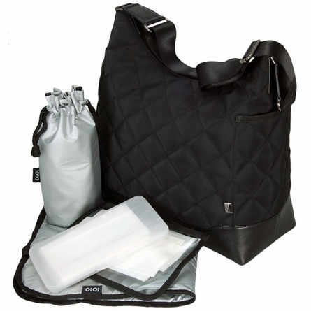 Black Diamond Quilted Hobo Diaper Bag