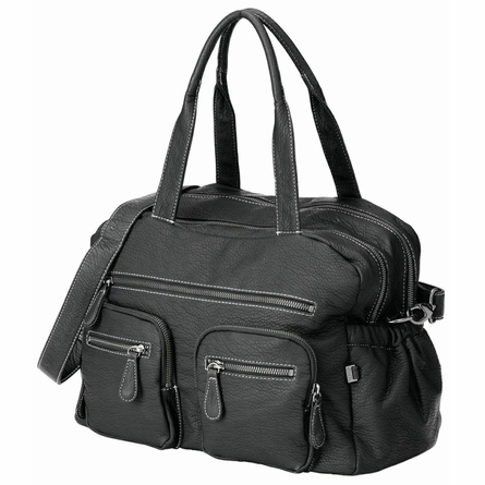 Black Faux Buffalo Carry All Diaper Bag