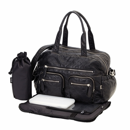 Black Faux Lizard Carry All Diaper Bag