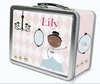 Black Hair Glam Princess Personalized Lunch Box