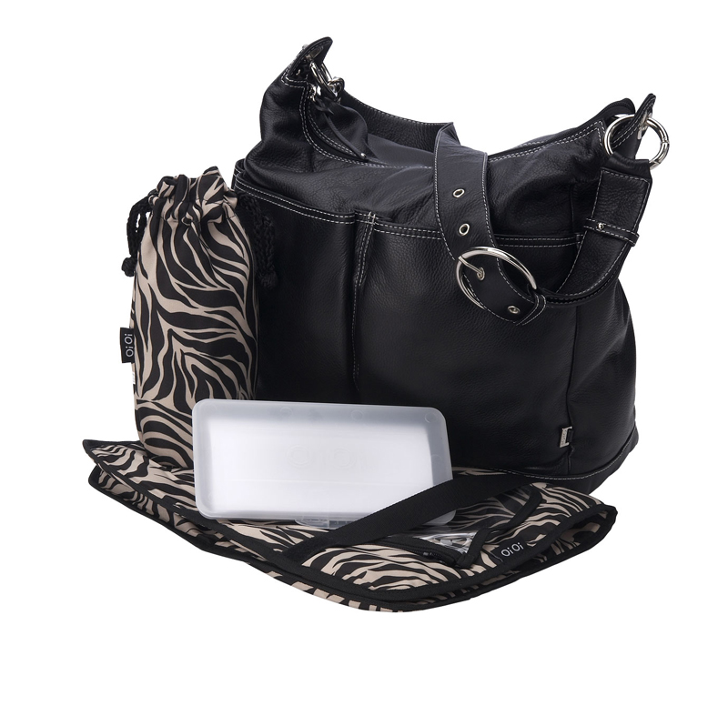 black leather hobo diaper bag with zebra print lining by oioi. Black Bedroom Furniture Sets. Home Design Ideas